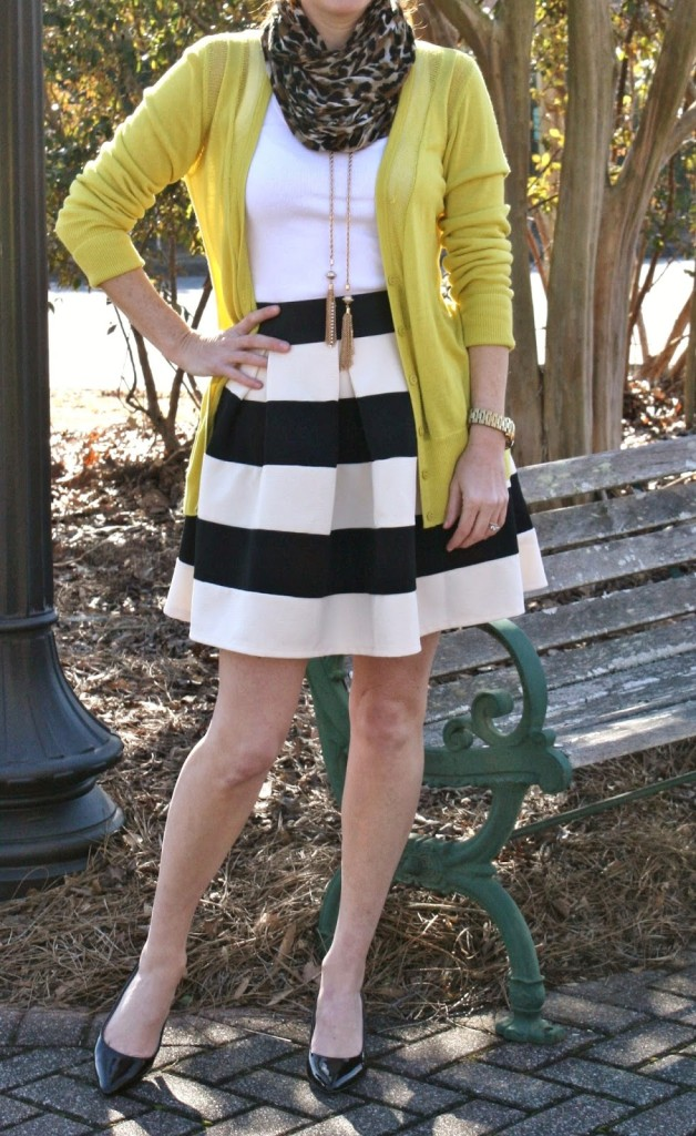 Modcloth Striped skirt, patent heels