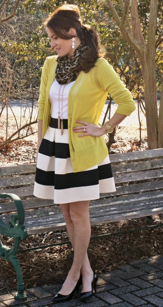 Modcloth Striped skirt, cardigan and heels