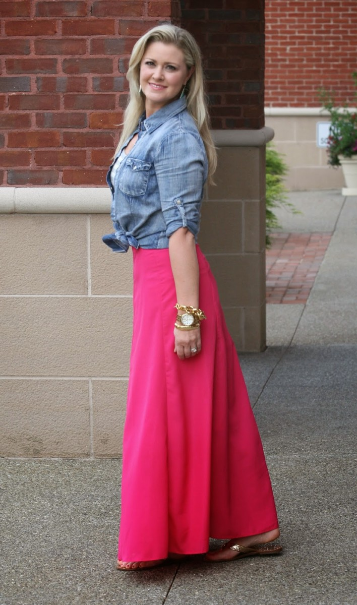 Hot pink maxi + denim