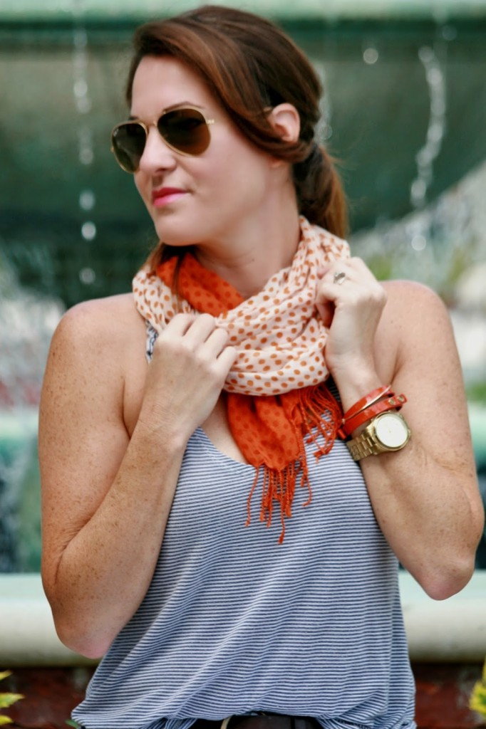 Orange scarf and Navy top