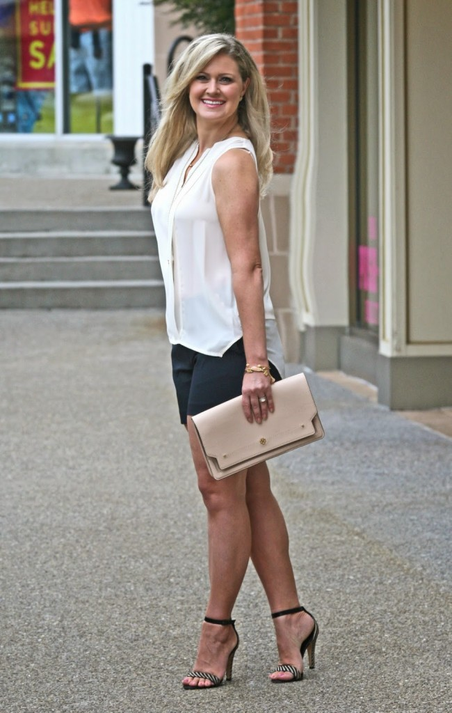 dressy shorts, navy shorts, nude clutch, white top, gold accessories, kendra scott, Ann Taylor, anthropologie, Kate Spade Heels, Zebra print heels