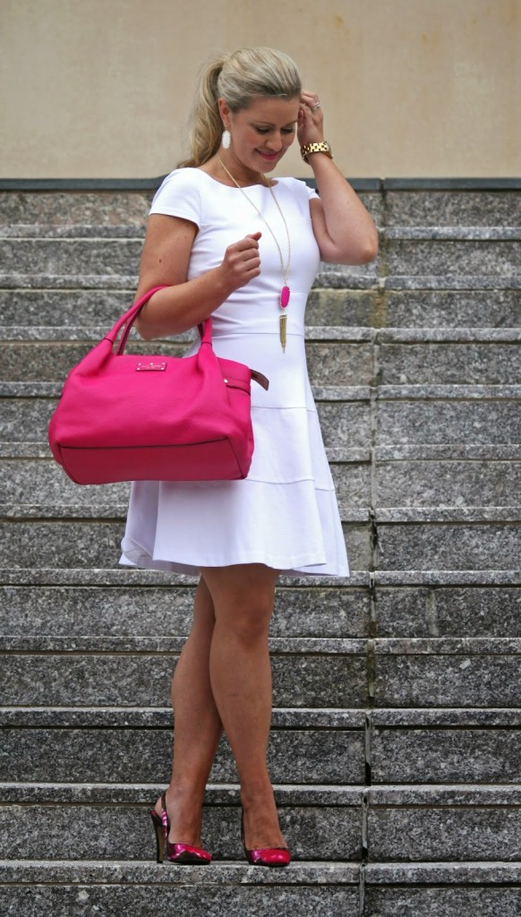 Little white Dress, Kendra Scott, kate spade, Hot pink handbag, rayne necklace, Marc by Marc Jacobs, gold watch, floral shoes
