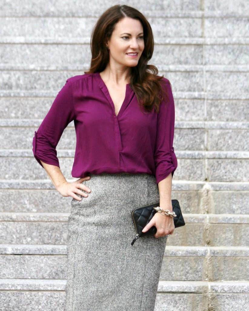Pleione Mixed Media Tunic, Nordstrom tunic, Plum blouse, Dark purple tunic