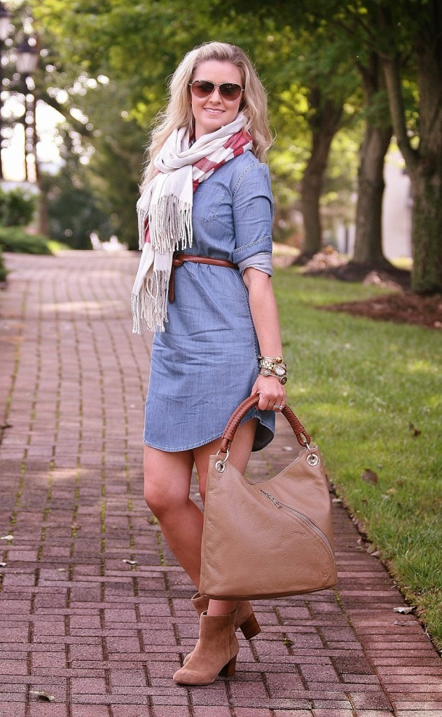 denim dress, denim, j. crew, oversized scarf, booties, aviator sunglasses, Fall Transitional pieces, gregory sylvia, hobo, tan purse