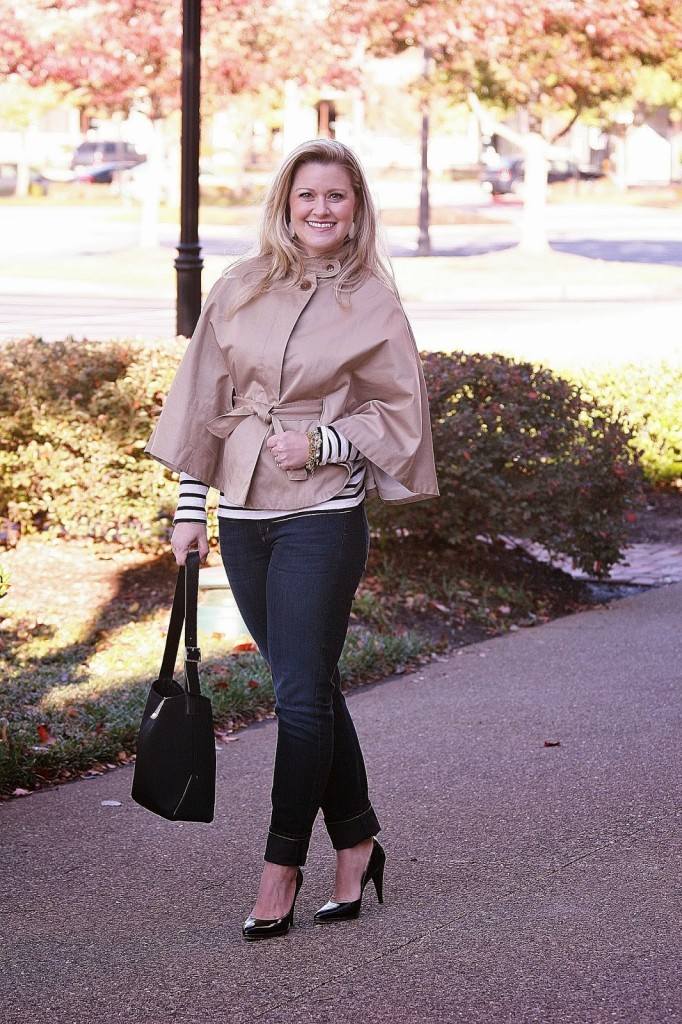 stying a cape, via spiga, Banana Republic, Citizens of Humanity, jeans, maternity style, gap, maternity jeans, patent leather pumps, burburry purse, Kendra Scott, Stella and Dot,