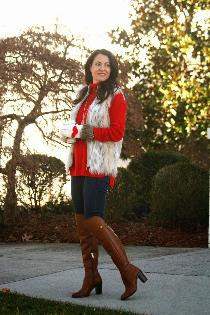 Nordstrom red turtleneck sweater