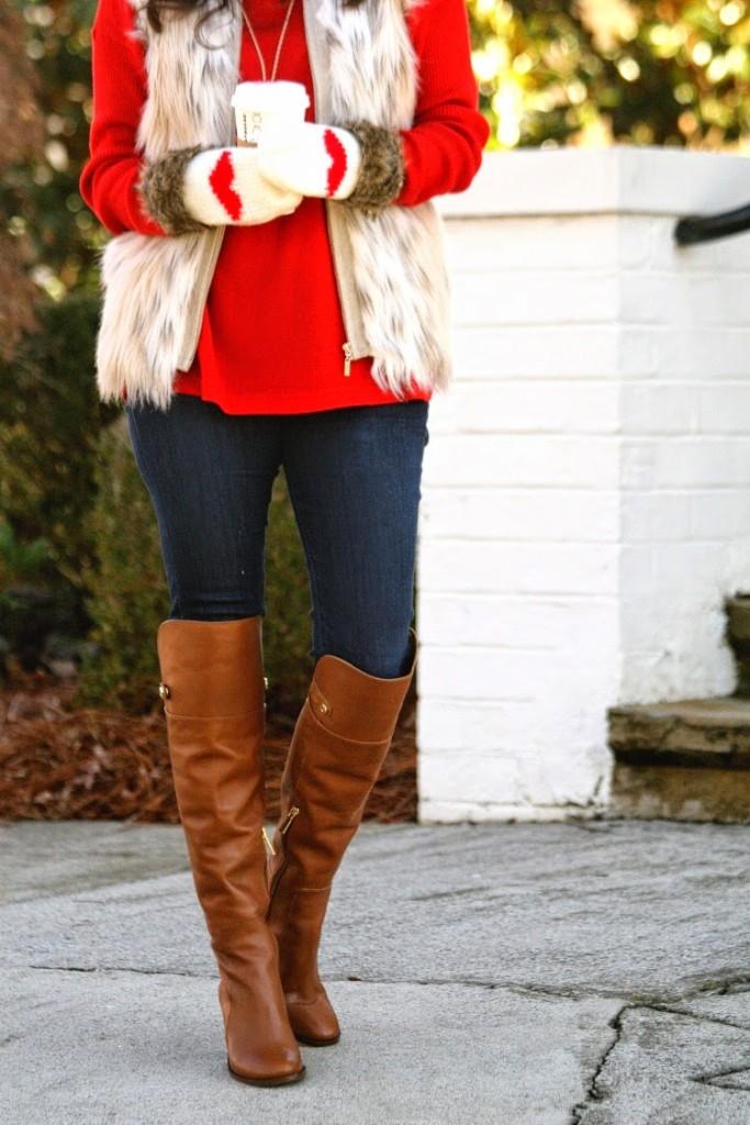 Fur Vest Outfit idea, fur vest