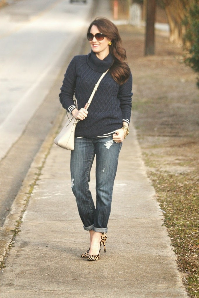Piperlime Navy Blue Sweater, Navy Blue Fisherman Sweater