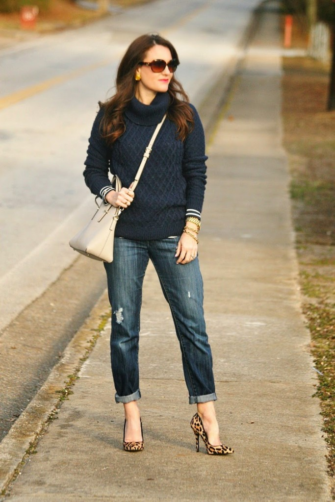 Winter Outfit Idea, Layering sweater and stripes