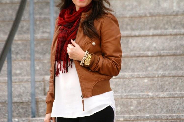Brown leather jacket, camel color leather jacket, moto jacket
