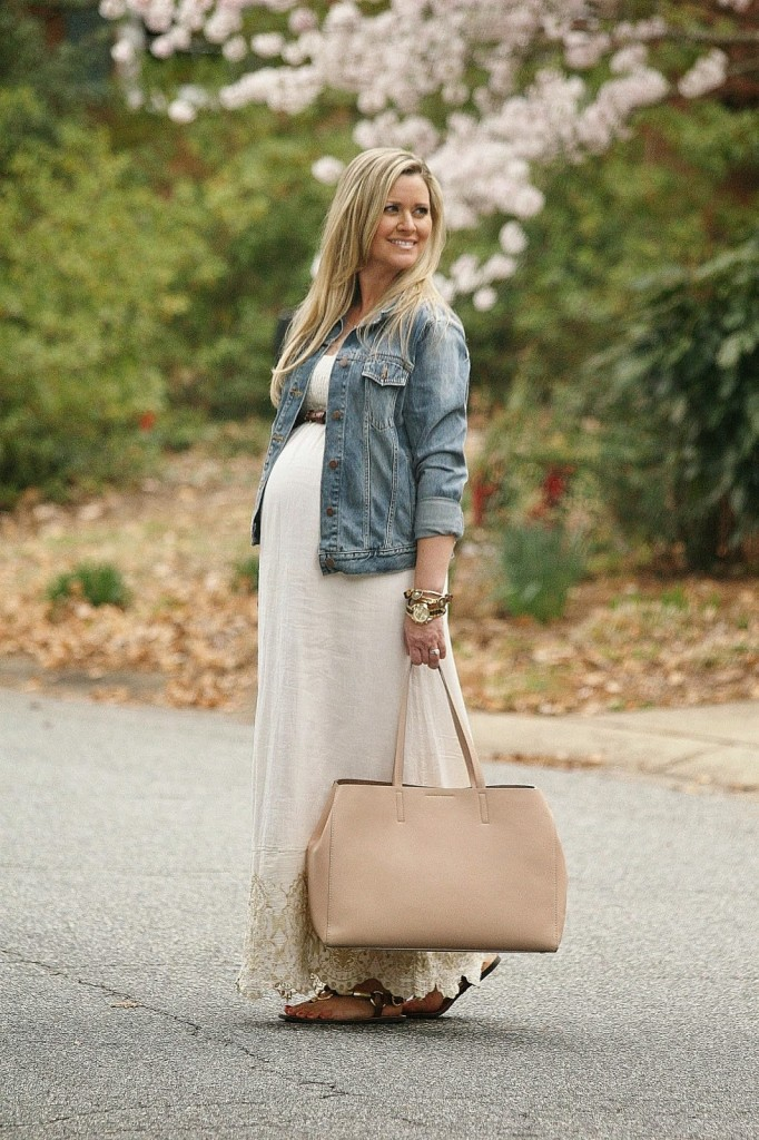 cac1ac837439f A Little Bit Boho. Maternity Style, spring maternity outfit, maxi dress, jean  jacket, pregnancy outfits,