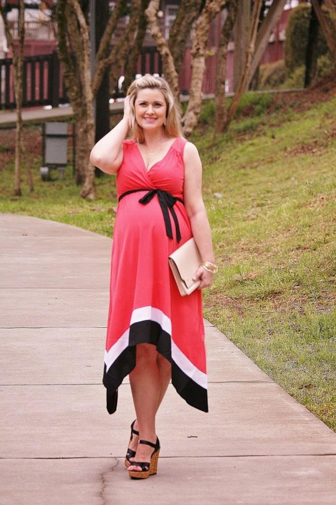 1ab22b0e58167 Destination maternity, handkerchief dress, coral maternity dress, dressing  cute while pregnant, spring