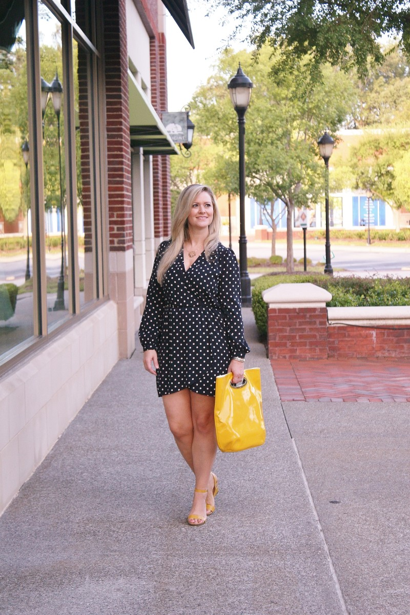 styling a navy polk dot dress with yellow accessories
