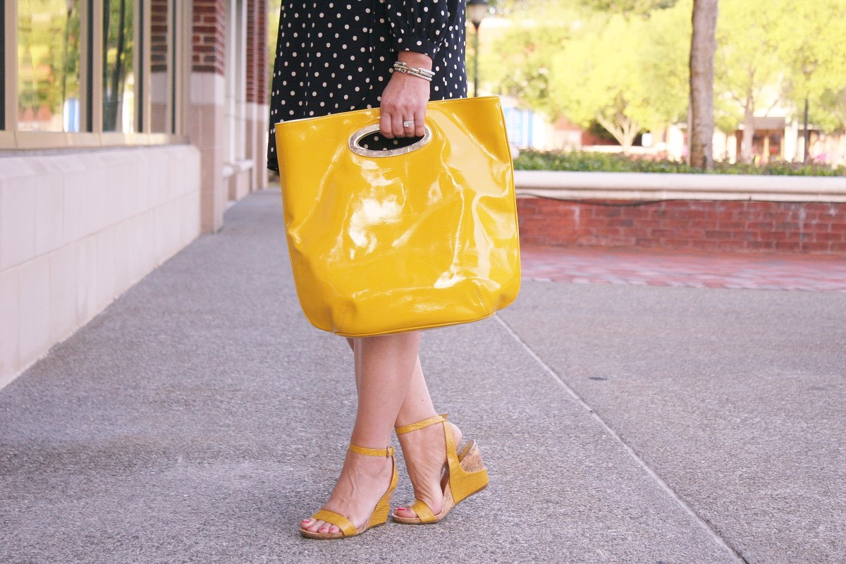 yellow clutch with navy polka dot dress - Peaches in a Pod