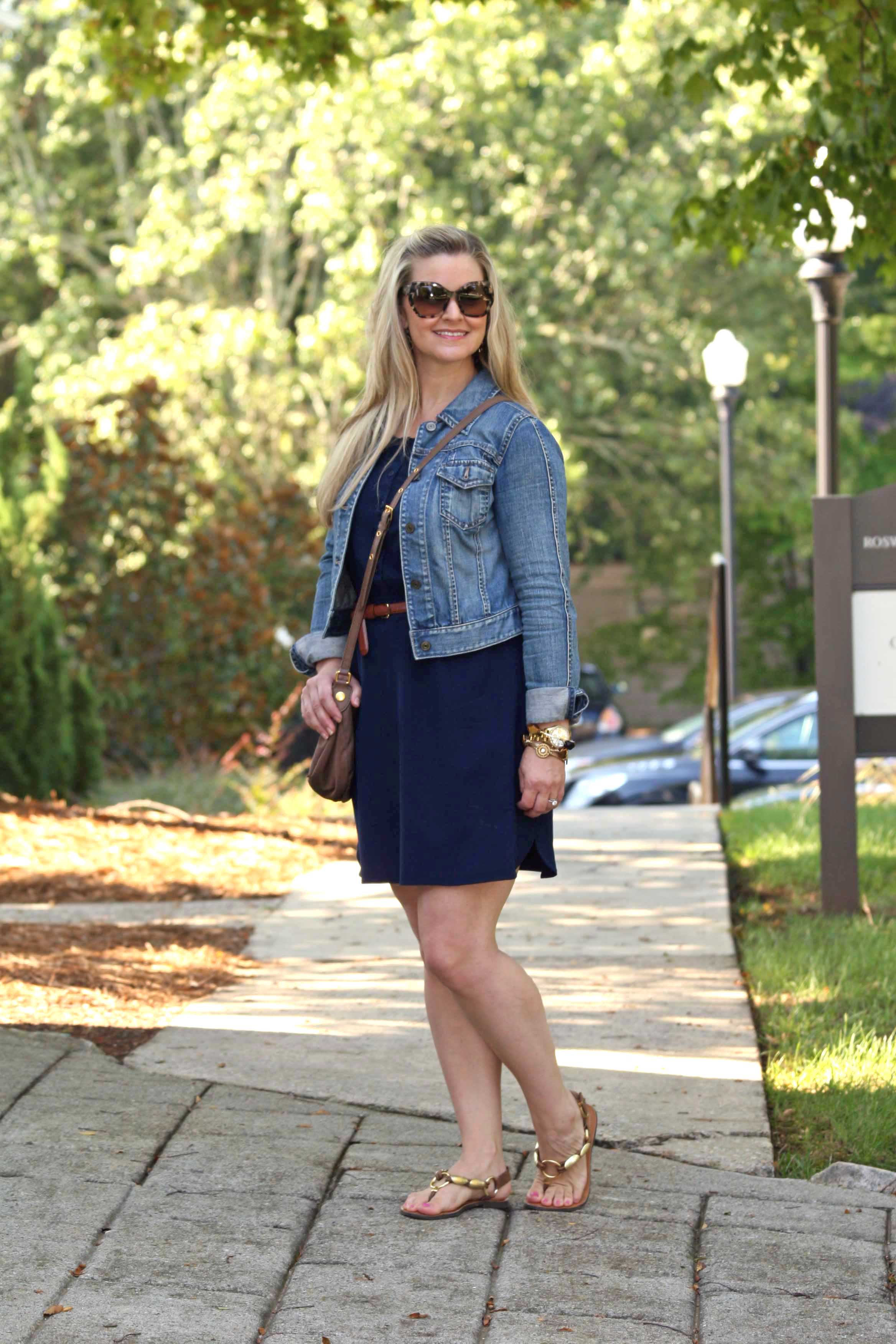 Dress And Denim Jacket - Coat Nj