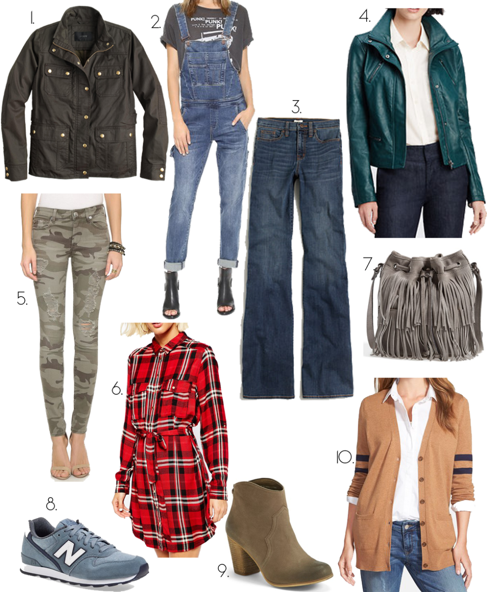 fall trends and must haves, skinny camo jeans, overalls, plaid, booties, overalls, wide leg jeans