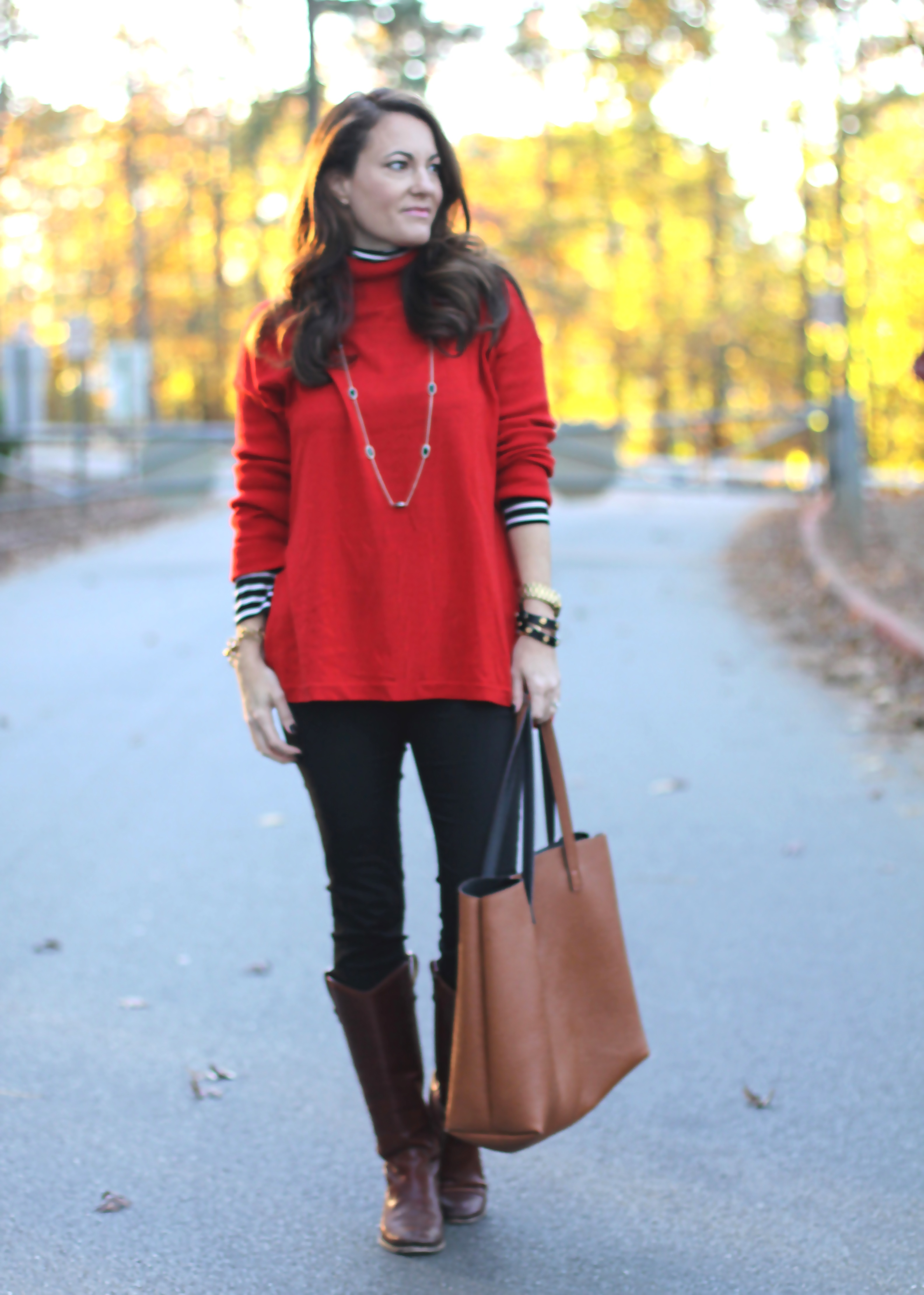 Red Sweater Outfit- Peaches In A Pod