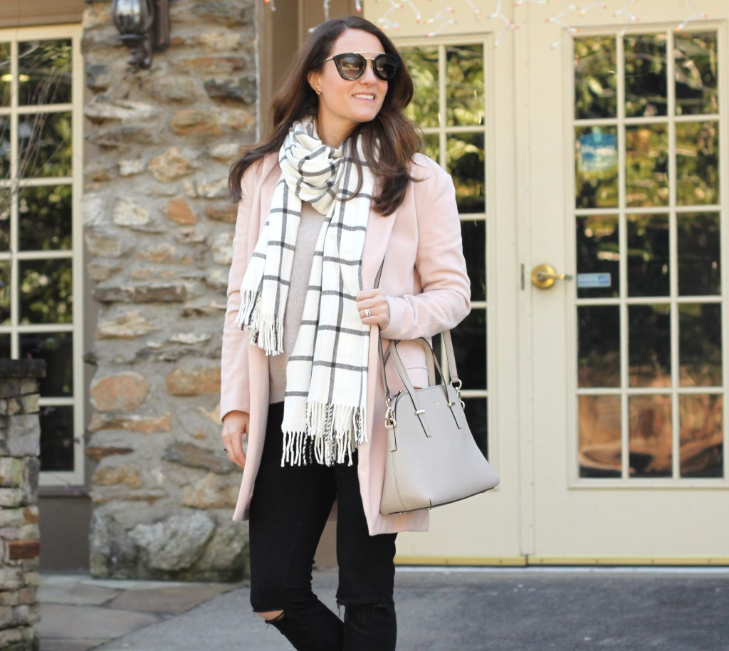 Brunch outfit via Peaches In A Pod Blog.  Pink sweater, pink coat, plaid scar, black distressed denim, nuetral handbag and nude heels.