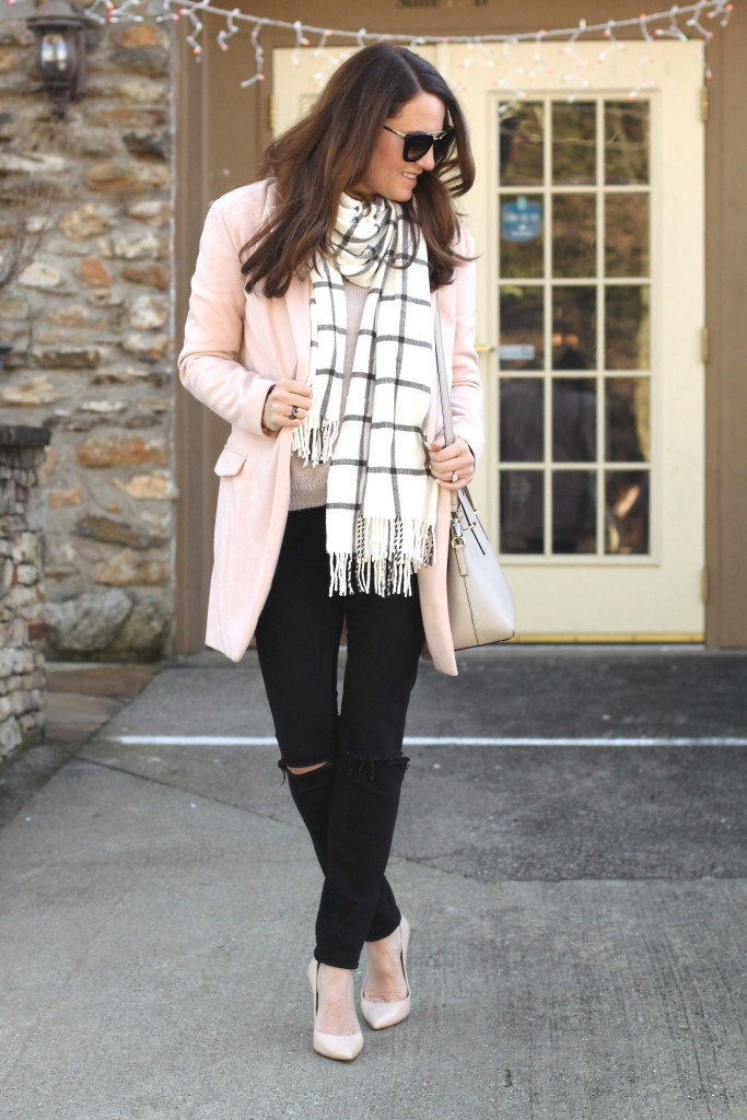 Nude heels outfit idea.  Perfect winter style.