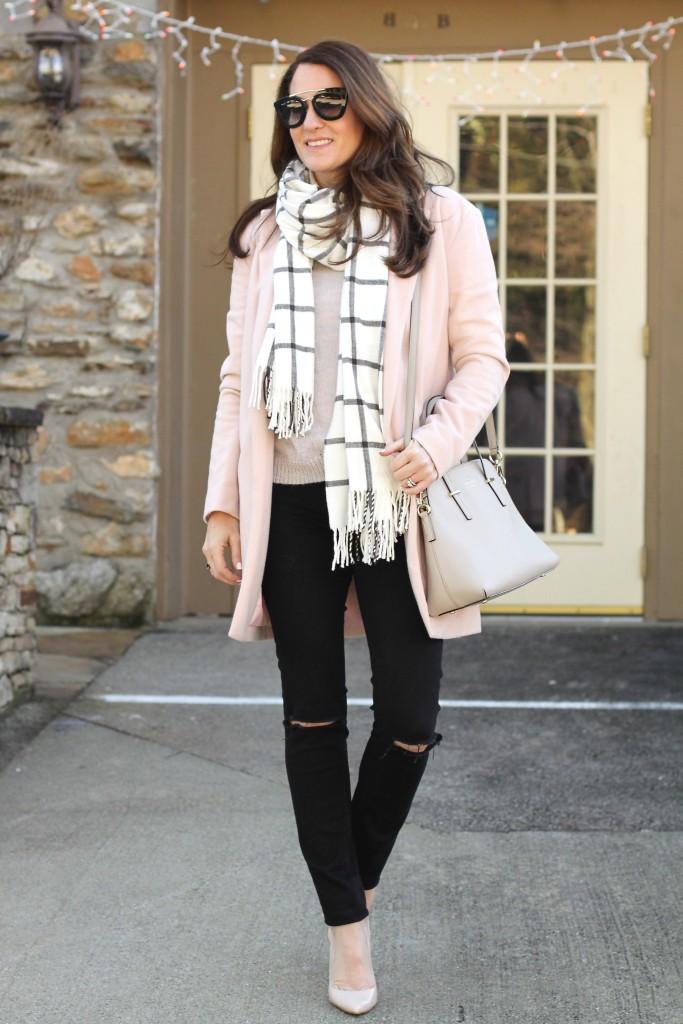 Pink winter coat via Peaches In A pod blog.