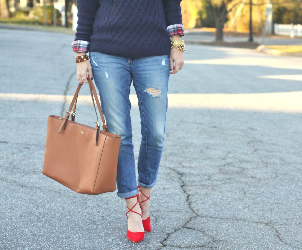 Boyfriend jeans and red lace up heels on Peaches In A Pod blog.