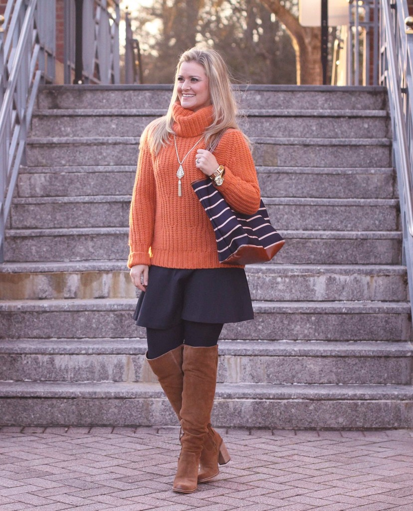 29b89724d9 Orange is the New. cute winter skirt and sweater outfit