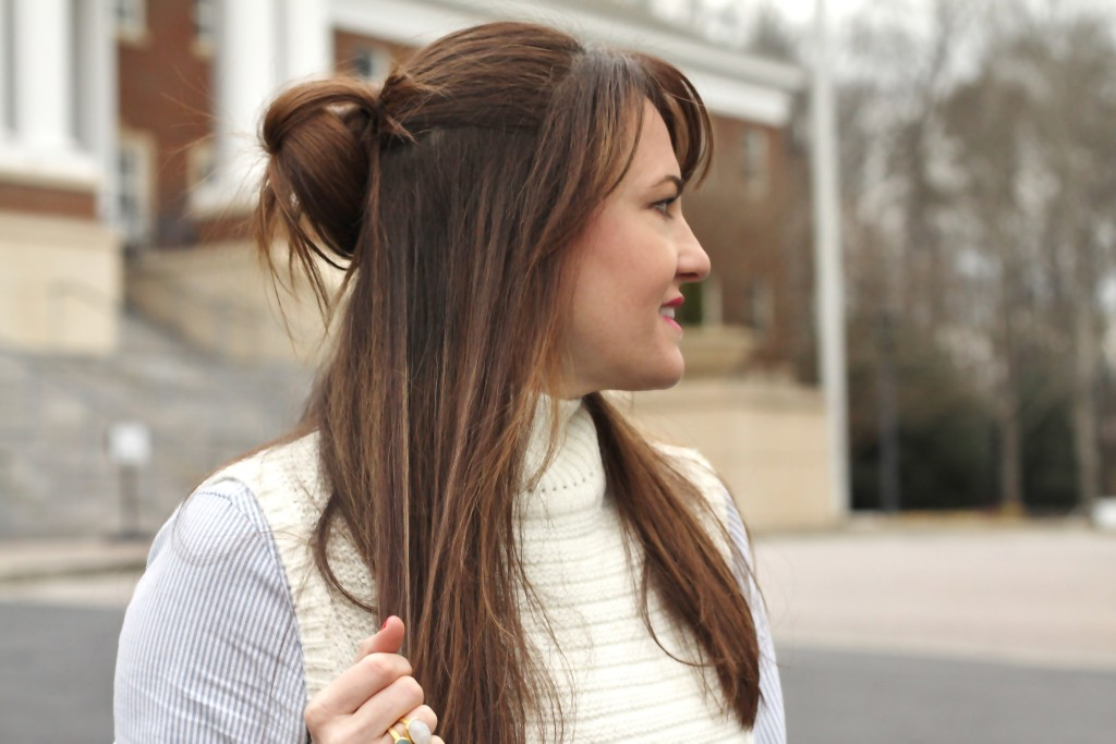 Cute half up hairstyle on Peaches In A Pod Blog. Hair and beauty ideas.