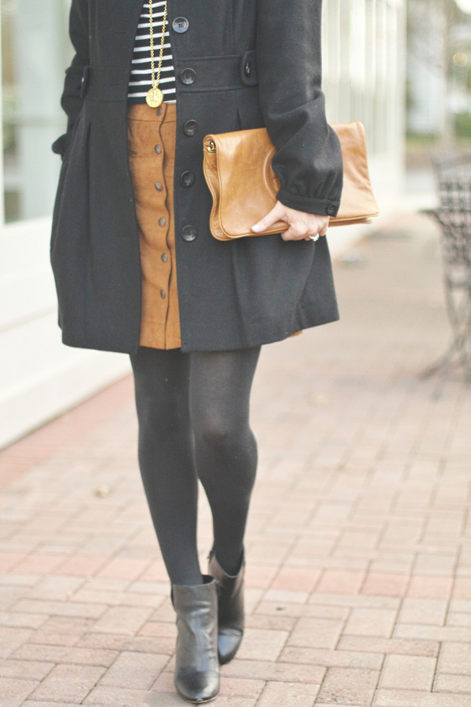 c4eb3afa8 black ankle boots outfit idea. Black ankle boots and brown suede skirt. Winter  fashion on Peaches In A Pod blog