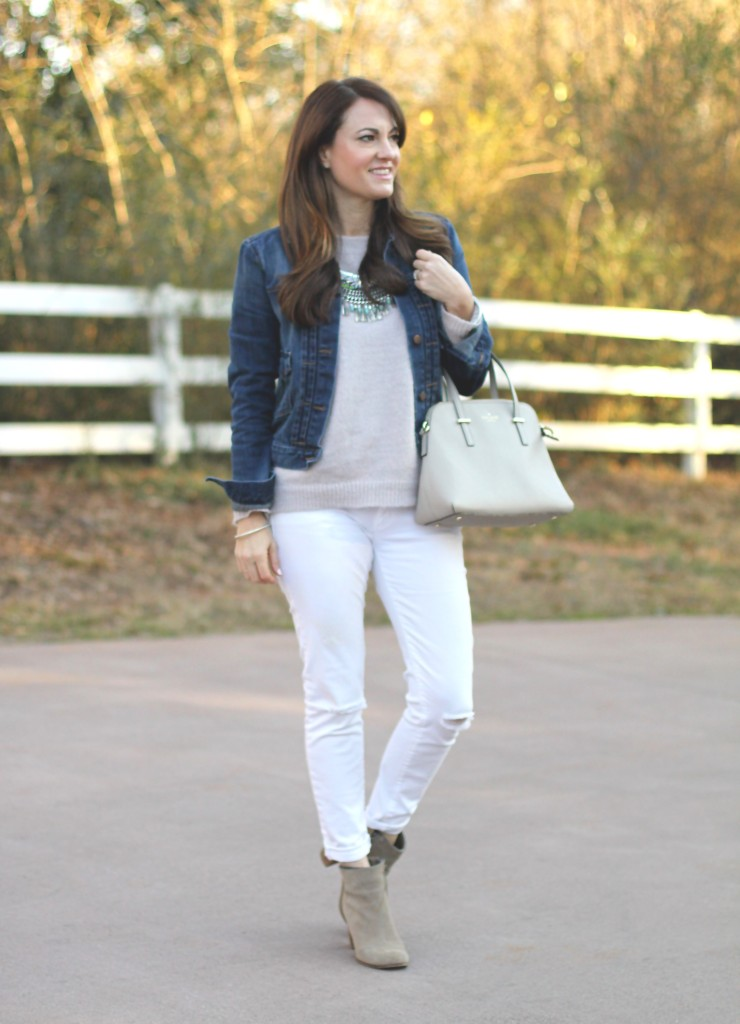 0f1dfdf0182 Ready for early spring with this denim jacket outfit idea on Peaches In A Pod  Blog