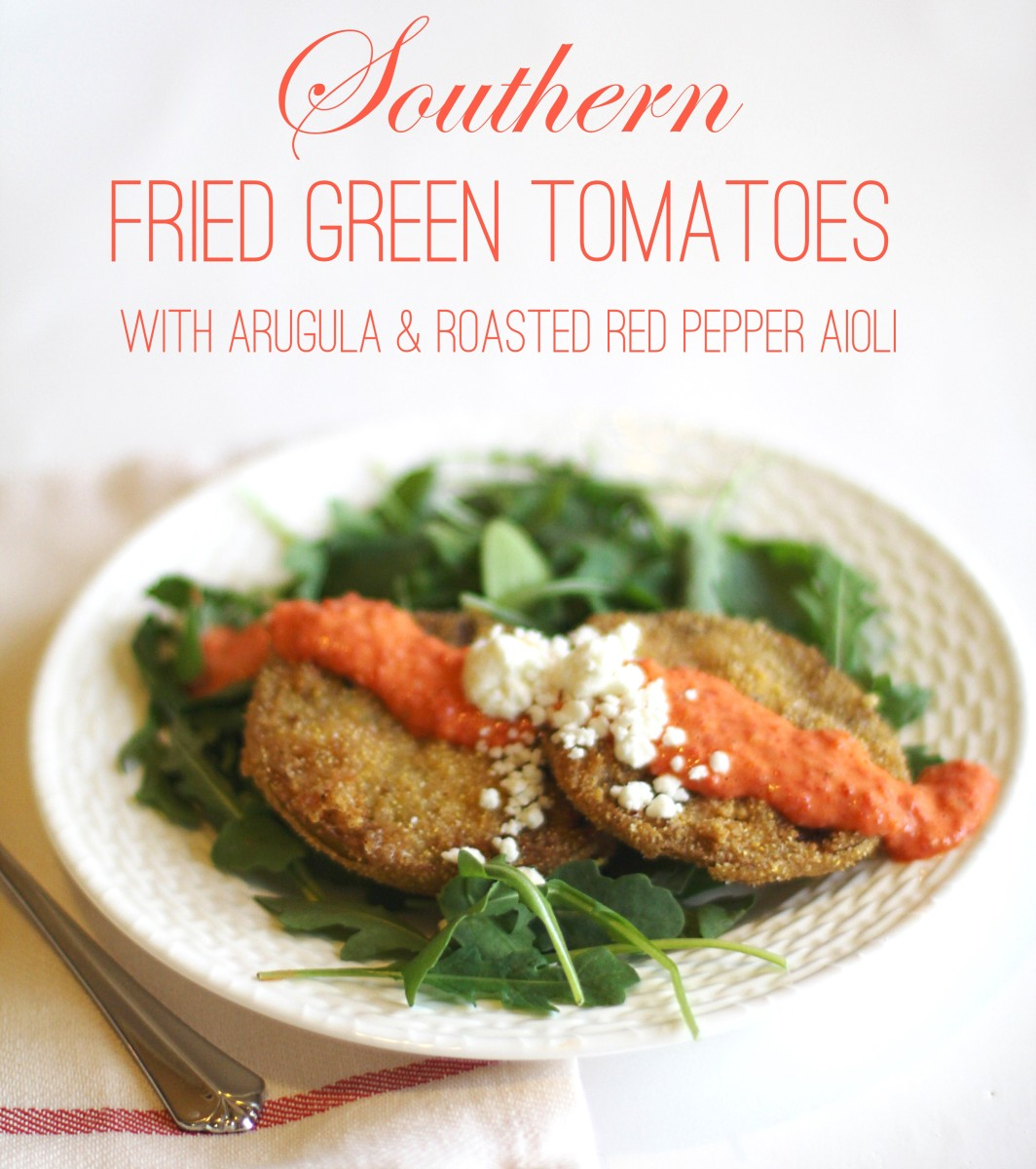 Southern Fried Green Tomatoes with Arugula and Roasted Red Pepper Aioli