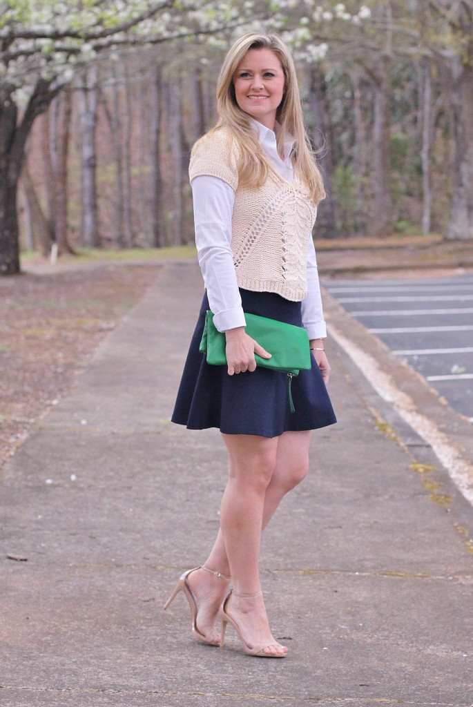 How to wear a navy skater skirt in the spring