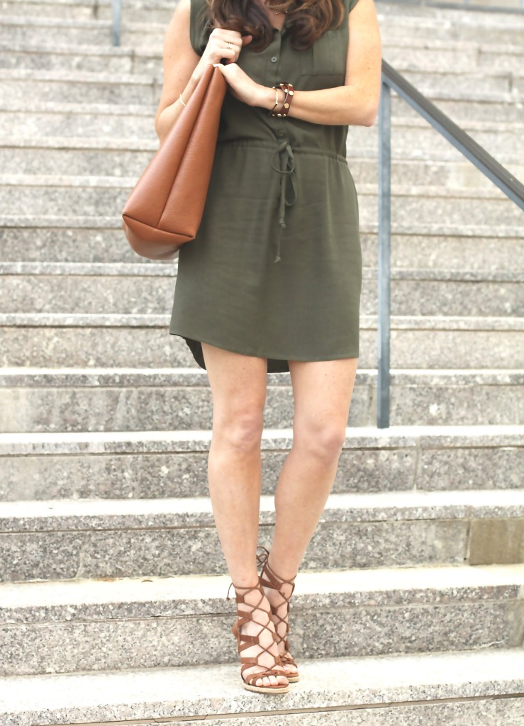 Cute shirt dress styled with a brown tote and lace up wedges via Peaches In A Pod blog.