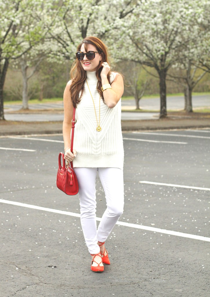 Spring Neutrals via Peaches In A Pod blog. This white sleevelss sweater outfit is perfect for transitioning into spring.
