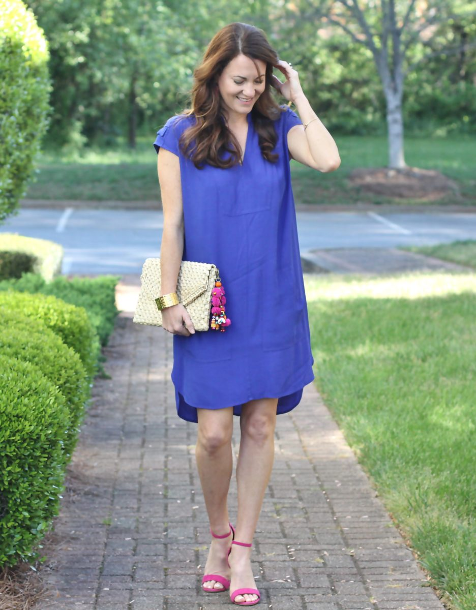 How to style a blue dress for spring on Peaches In A Pod blog.