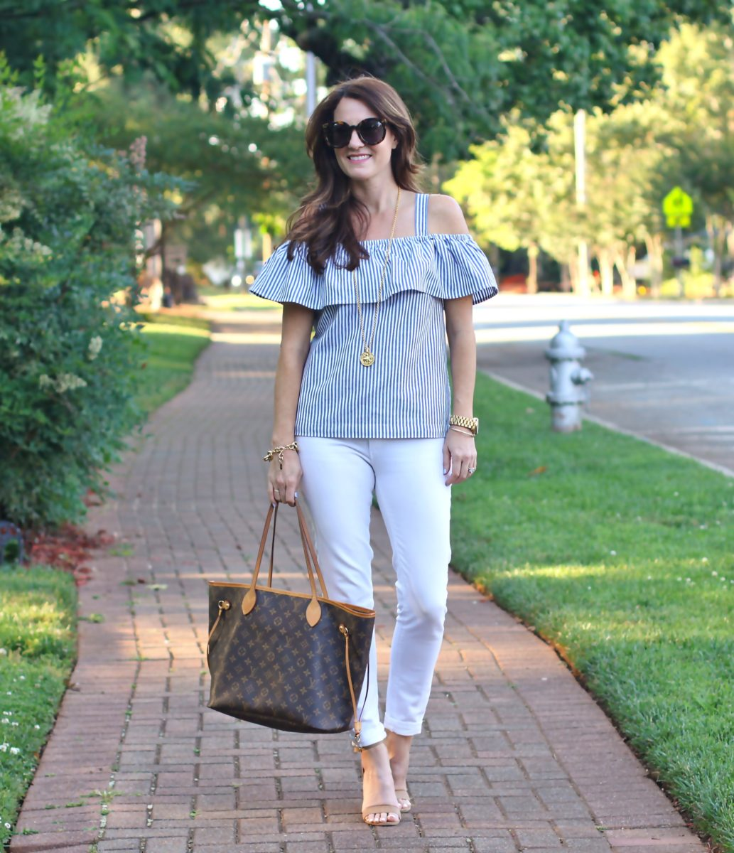 Cute striped off the shoulder top via Peaches In A Pod blog.