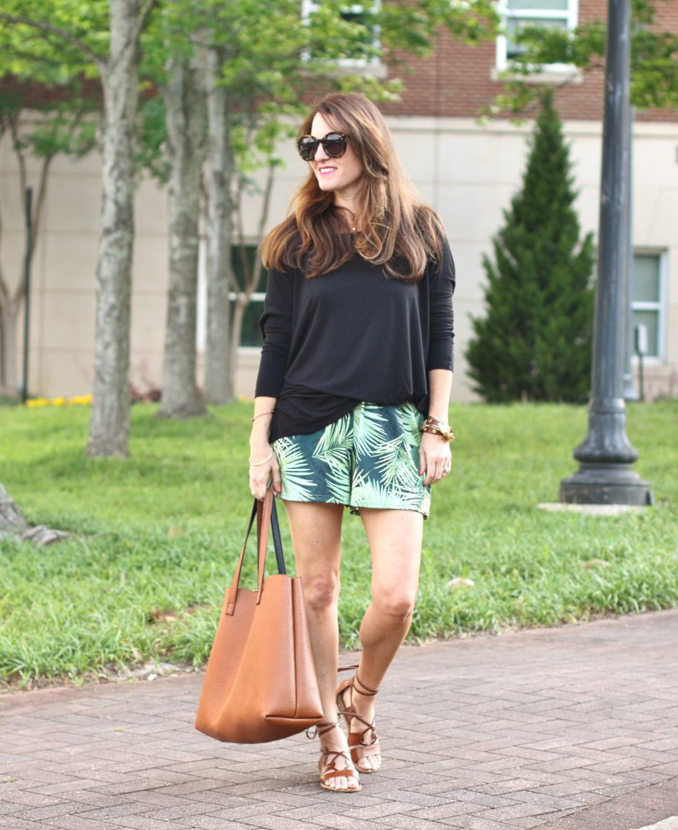 Women's casual summer outfit idea via Peaches In A Pod blog. Palm print shorts, brown gladiator sandals.