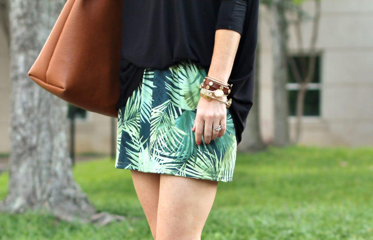 Palm print shorts via Peaches In A Pod blog.