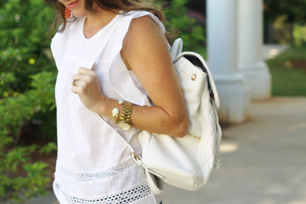 How to style a backpack via Peaches In A Pod blog.