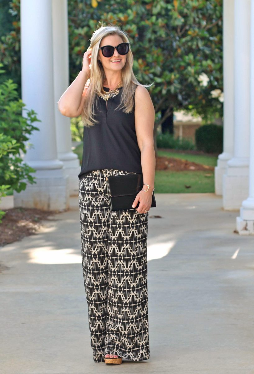 fun patterned pants outfit