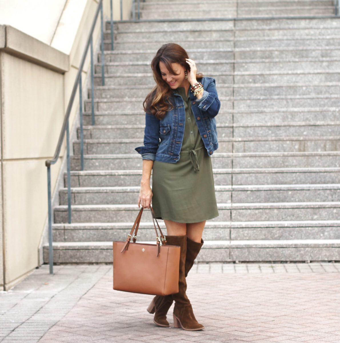 How to wear over the knee boots with a dress for fall.