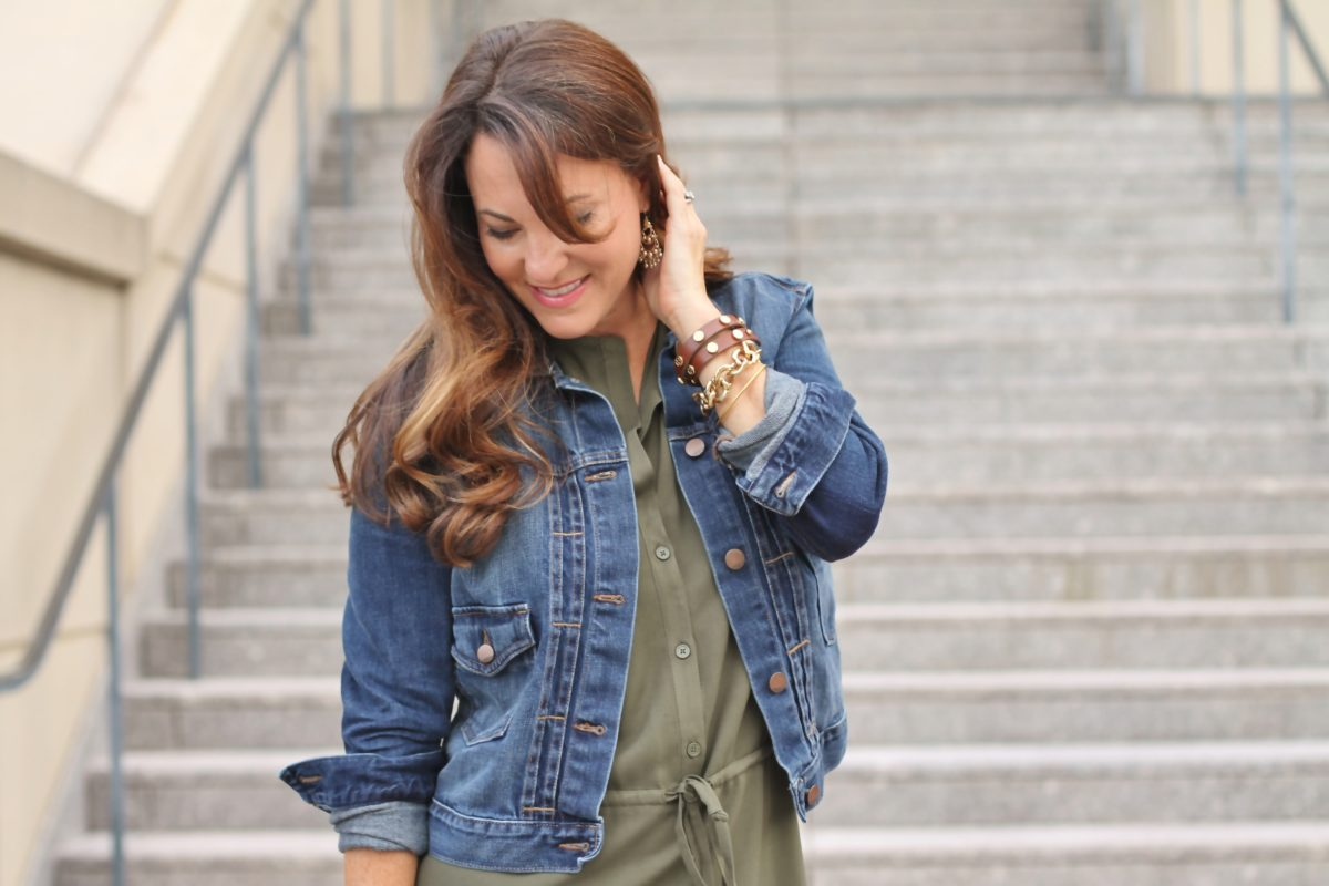 How to wear a denim jacket this fall via Peaches In a Pod blog.