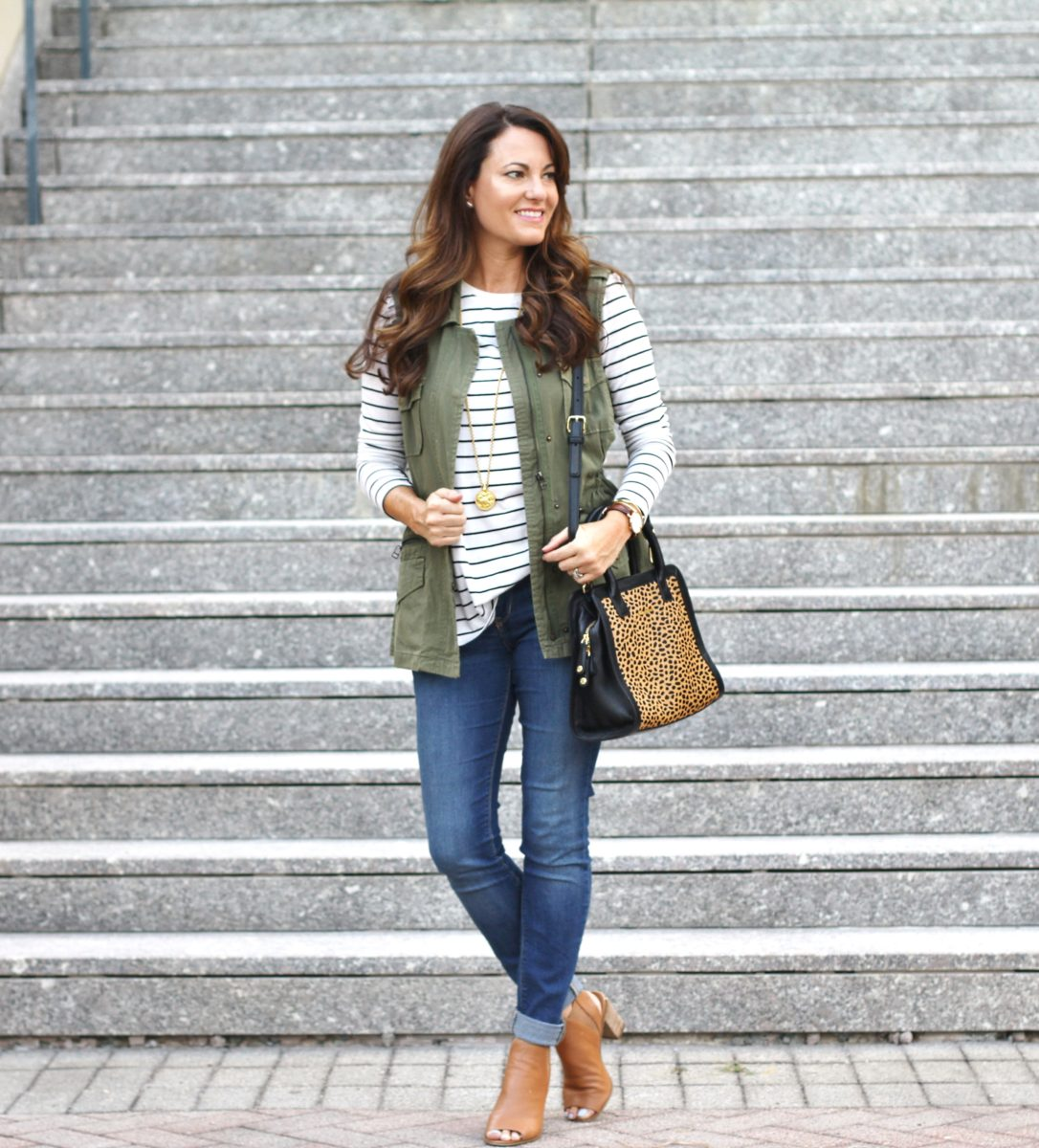 Cute Military Vest Outfit. Perfect For Transitioning Into Fall