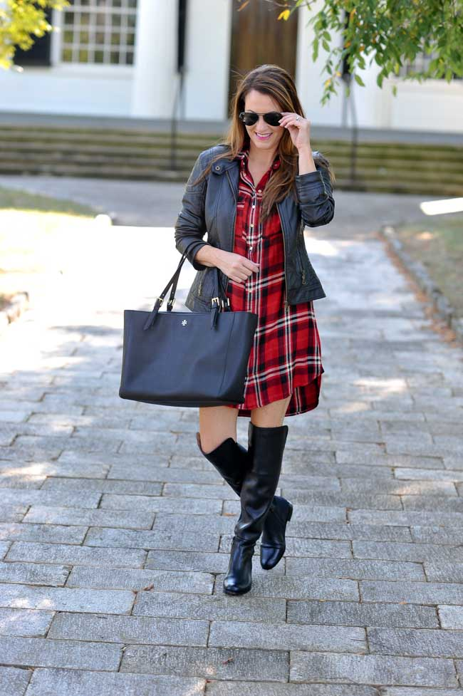 black over the knee boots outfit idea via Peaches In A Pod blog.