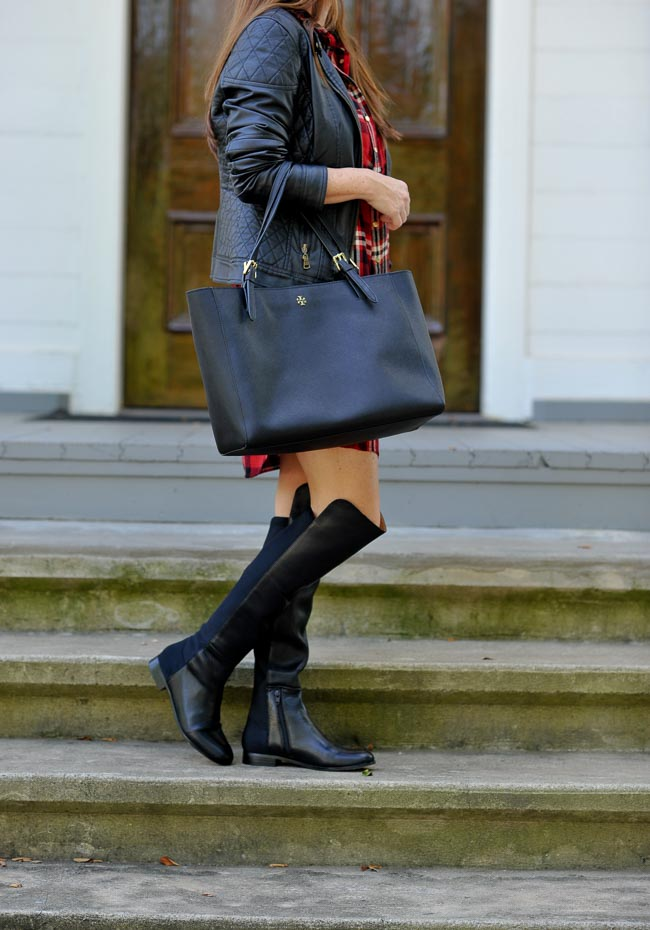 How to wear flat over the knee boots for fall via Peaches In A Pod blog.