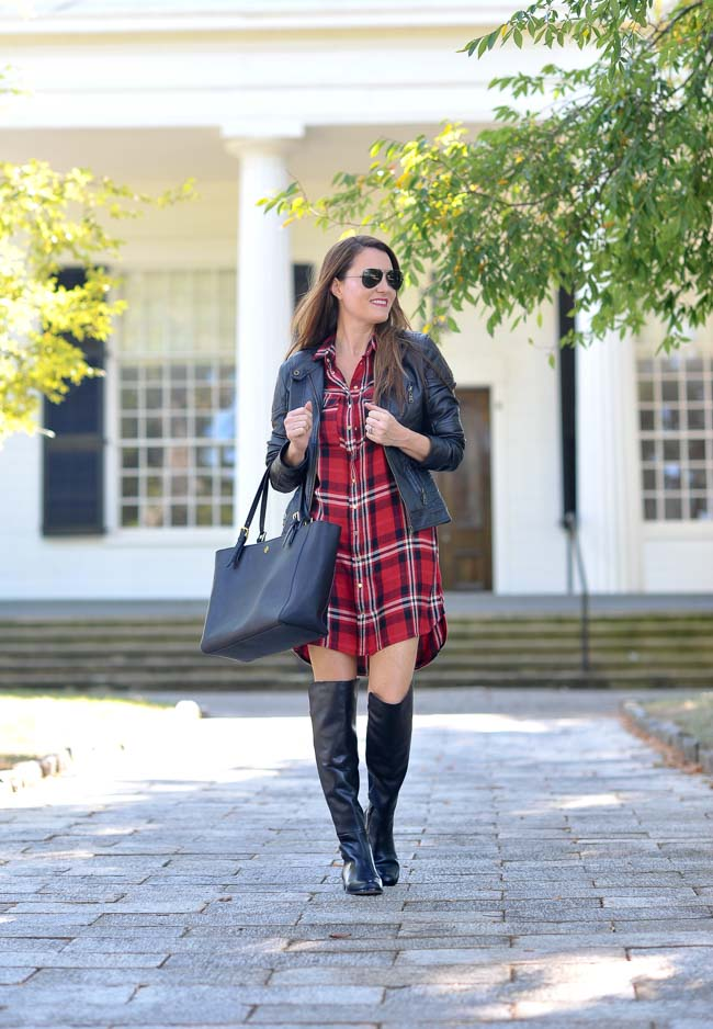 How to style a plaid shirt dress for fall via Peaches In A Pod blog.