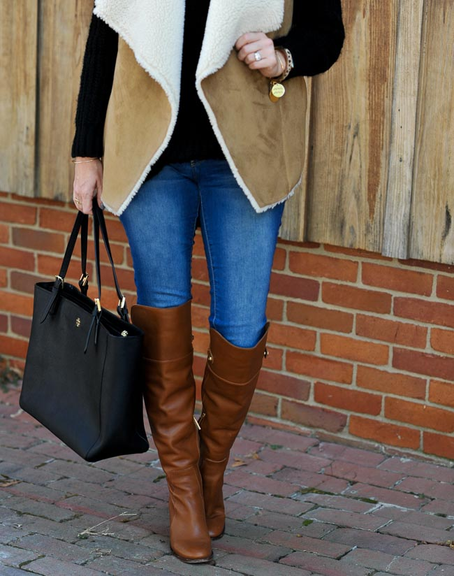 brown leather overknee boots