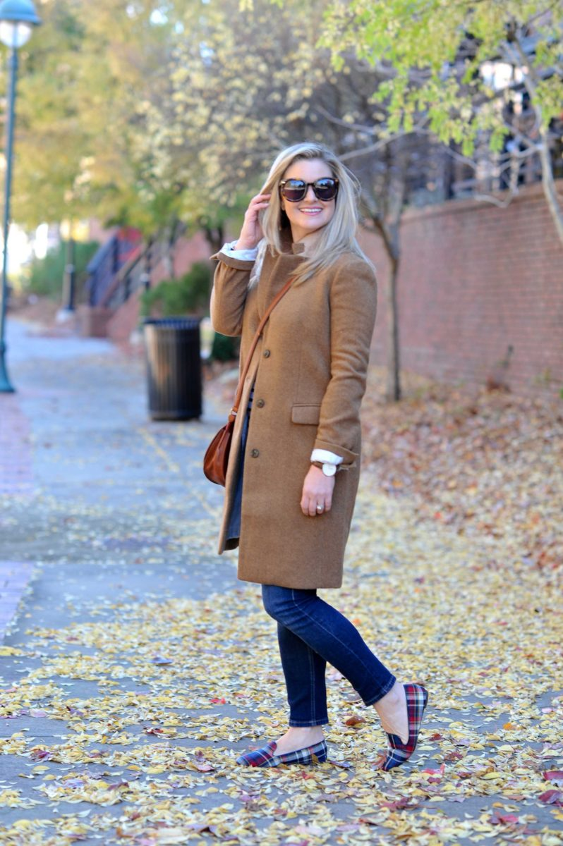 A preppy casual winter outfit with a camel coat and plaid shoes