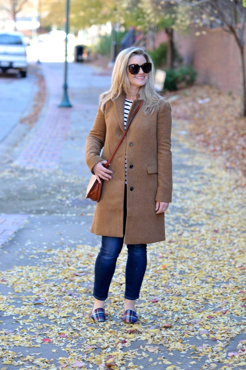 The perfect winter casual outfit with a camel coat and plaid loafers.