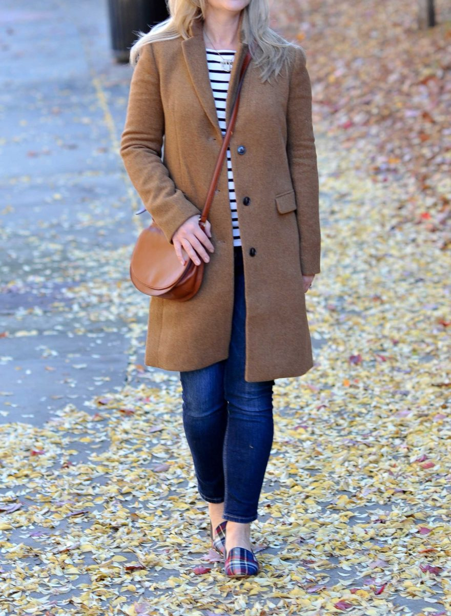 how to style a camel coat to create a great preppy winter outfit