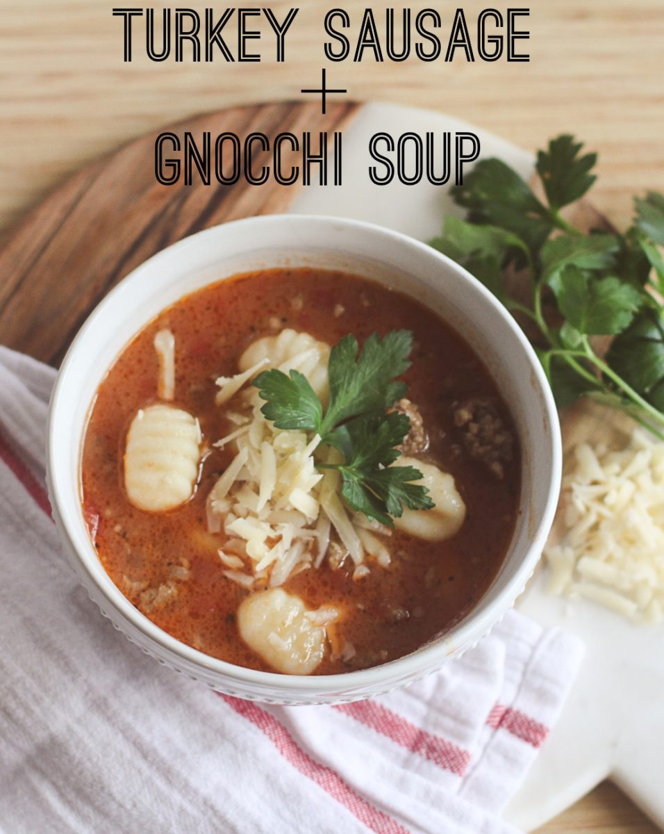 Easy and delicious turkey sausage and gnocchi soup by Peaches In A Pod blog. This recipe is the perfect winter time soup because it will fill you up without packing on the pounds.